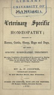 Cover of: Manual of veterinary specific hom℗œopathy treating of horses, cattle, sheep, hogs, and dogs, and their specific hom℗œopathic treatment