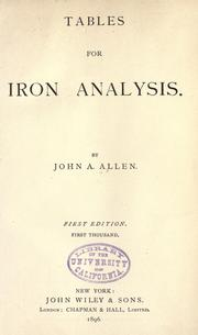 Cover of: Tables for iron analysis
