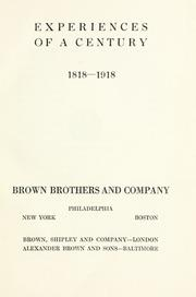 Cover of: Experiences of a century, 1818-1918