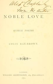 Cover of: Noble love, and other poems