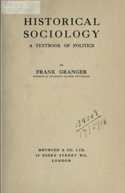 Cover of: Historical sociology