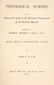Cover of: Phycological memoirs