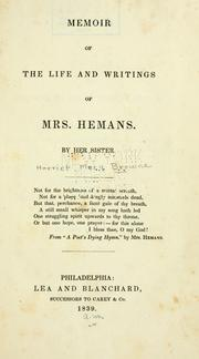 Cover of: Memoir of the life and writings of Mrs. Hemans