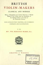Cover of: British violin-makers, classical and modern