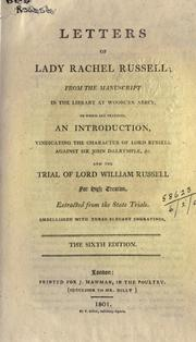 Cover of: Letters of Lady Rachel Russell, from the MS. in the library at Wooburn Abbey