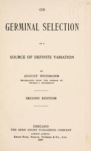 Cover of: On germinal selection as a source of definite variation