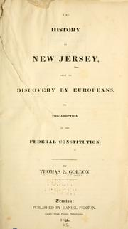 Cover of: The history of New Jersey: from its discovery by Europeans, to the adoption of the federal Constitution.