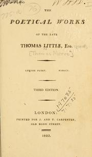 Cover of: Poetical works of the late Thomas Little