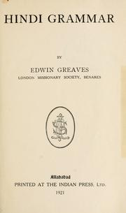Cover of: Hindi grammar. by Edwin Greaves