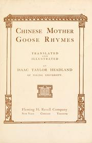 Cover of: Chinese Mother Goose rhymes