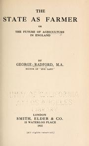 Cover of: The state as farmer