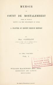 Memoir of Count de Montalembert by Margaret Oliphant