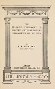 Cover of: The religious philosophy of Plotinus and some modern philosophies of religion