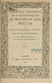 Cover of: Personal narrative of a pilgrimage to Al-Madinah & Meccah
