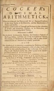 Cover of: Cocker's decimal arithmetick