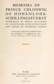 Cover of: Memoirs of Prince Chlodwig of Hohenlohe-Schillingsfuerst