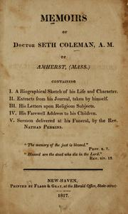 Cover of: Memoirs of Doctor Seth Coleman, A.M., of Amherst, (Mass.)