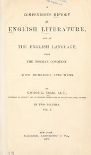 Cover of: A compendius history of English literature, and of the English language, from the Norman conquest