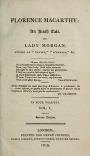 Florence Macarthy by Lady Morgan