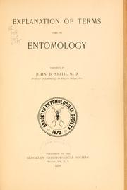 Cover of: Explanation of terms used in entomology