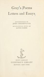 Cover of: Poems, letters, and essays: Introd. by John Drinkwater. Biographical notes by Lewis Gibbs.
