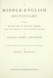 Cover of: A Middle English dictionary | Francis Henry Stratmann