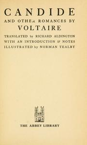 Cover of: Candide and other romances: Translated by Richard Aldington, with an introd. and notes.  Illustrated by Norman Tealby.