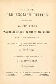 Cover of: Old English ditties | W. Chappell