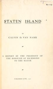 Cover of: Staten Island by Calvin D. Van Name