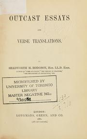 Cover of: Outcast essays and verse translations