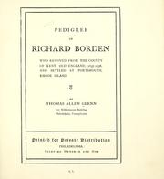 Cover of: Pedigree of Richard Borden