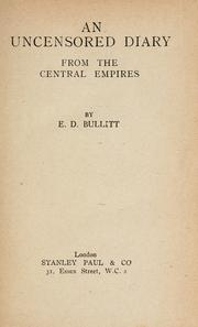 Cover of: An uncensored diary from the central empires