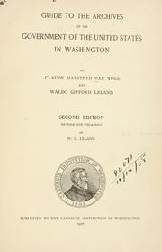 Cover of: Guide to the archives of the government of the United States in Washington