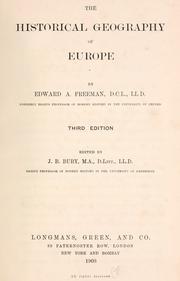 Cover of: The historical geography of Europe