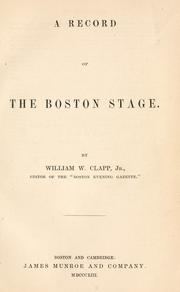 Cover of: A record of the Boston stage