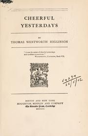 Cover of: Cheerful yesterdays