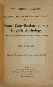 Cover of: Some contributions to the English anthology