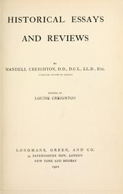 Cover of: Historical essays, and reviews