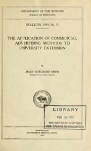 Cover of: The application of commercial advertising methods to university extension