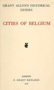 Cover of: Cities of Belgium