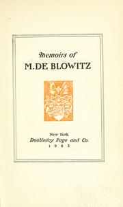Cover of: Memoirs of M. de Blowitz. by Henri Georges Stephane Adolphe Opper de Blowitz