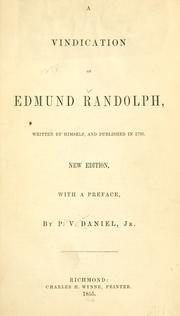 Cover of: A vindication of Edmund Randolph
