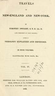 Cover of: Travels in New-England and New-York