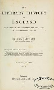 Cover of: The literary history of England in the end of the eighteenth and beginning of the nineteenth century