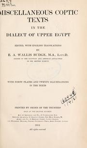 Cover of: Miscellaneous Coptic texts in the dialect of Upper Egypt