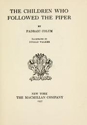 Cover of: The children who followed the piper