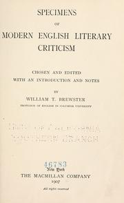 Cover of: Specimens of modern English literary criticism | William T. Brewster
