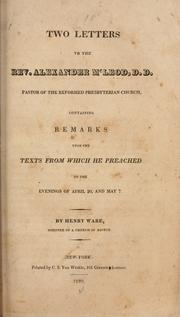 Cover of: Two letters to the Rev. Alexander M'Leod, D.D