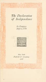 Cover of: The Declaration of Independence in Congress July 4, 1776