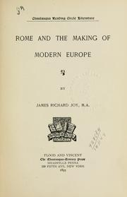 Cover of: Rome and the making of modern Europe